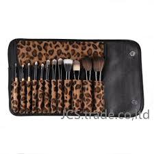 leopard print makeup brush set