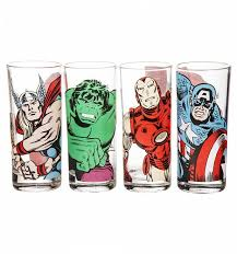 set of four marvel characters glasses
