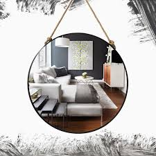 retro metal wall hanging mirror with