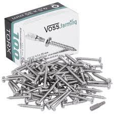 100x Voss Farming Screws Torx Stainless Steel 4 5 X 35mm