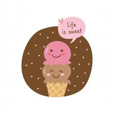 life is sweet quote and cute ice cream cone premium vector