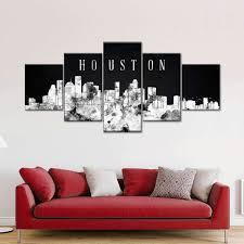 Houston Watercolor Skyline Bw Multi Panel Canvas Wall Art Elephantstock