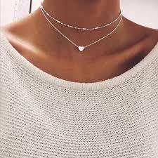 tiny small heart moon choker necklace