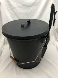 open hearth ash bucket with shovel