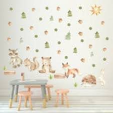 Forest Animal Bear Fox Wall Sticker Nordic Tribal Cartoon Nursery Art Wall Decal Ebay