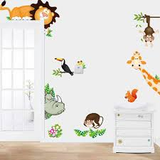 Cartoon Zoo Animal Wall Stickers For Kids Rooms Sticker Children S Play Room Bedroom Decor Wall Art Decals Jungle Animal Kids Wall Stickers Aliexpress