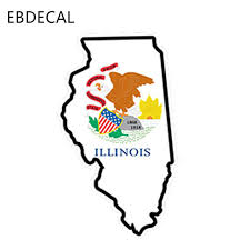 Ebdecal Illinois Flag Map Shape Printed Vinyl Decal For Auto Car Bumper Window Wall Decal Sticker Decals Diy Decor Ct6488 Car Stickers Aliexpress