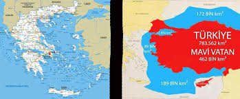 "The Duke's tweet - ""Left : official map of Greece as accepted from the UN and all countries in the world. Right : Mavi Vatan. Erdogan's dream of the ""blue homeland"". -Including"