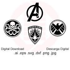 Avengers Svg Dxf Vector Clipart Marvel Symbols Logo Cut File Etsy