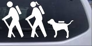 Hiker Couple Guy Girl With Dog Hiking Camper Camping Car Or Truck Window Decal Sticker Rad Dezigns