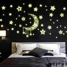 Starry Romantic Stars Luminous Wall Sticker Glow In The Dark Wall Art Decal Self Adhesive Baby Kids Bedroom Wall Stickers Wall Stickers Aliexpress