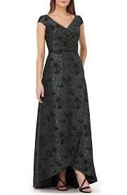 CARMEN MARC VALVO INFUSION Pleated Brocade Evening Hunter / Black Dress -  We Select Dresses