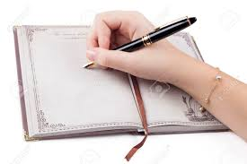 Female Hand Writing Empty Page In Diary With Fountain Pen Stock Photo,  Picture And Royalty Free Image. Image 23952982.