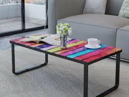 retro coffee table glass top rainbow