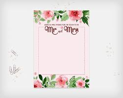 bridal shower advice well wishes card