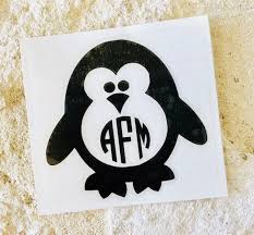 Penguin Decal Monogram Decal Personalized Penguin Decal Etsy