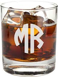 personalized monogram whiskey glass