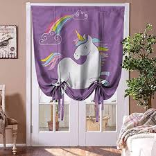 Amazon Com Houselookhome Blackout Curtain Panels Unicorn Tie Up Window Valance Purple Kids Rainbow Blind For Living Room Rod Pocket Panel 42 W X 72 L Home Kitchen