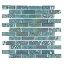 glass tile iridescent sea foam 1x3