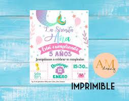 Linda Invitacion Sirenita Para Cumpleanos O Baby Shower Cute Mermaid Invitation For Birth Invitaciones Invitaciones De La Sirenita Invitaciones De Cumpleanos