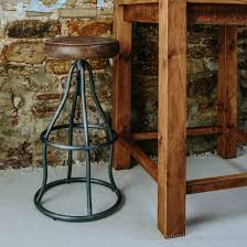 leather metal bar stool industrial