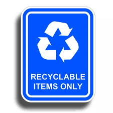 Recyclable Items Only Sticker Blue Recycle Reuse Container Trash Can Label Decal Decals Stickers Aliexpress