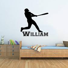 Wall Decals Custom Name Personalized Boys Name Baseball Player Nursery Kids Wall Vinyl Decal Stickers Bedroom Murals Amazon Com