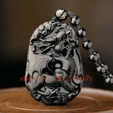 natural black obsidian dragon pendant