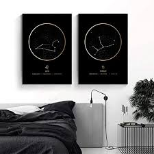 Amazon Com Fashion Constellation Poster And Prints Zodiac Astronomy Nordic Wall Art Black Gold Canvas Painting Kids Room Picture Home Decor 40x60cmx2 No Frame Posters Prints