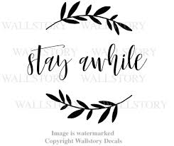 Family Wreath Vinyl Wall Decal Stay Awhile Home Country Farmhouse Font Entryway Quote Sign Black Red White Gray