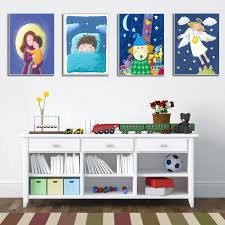 Cartoon Mermaid Canvas Art Painting Poster Kids Room Wall Picture Home Decor