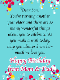 Thanks For Being Our Son Happy Birthday Card For Son From Parents Birthday Greeting Cards By Davia