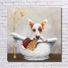 صور مضحكة بالجملة للبيع الاستحمام الكلب نوم ديكور المنزل مع مؤطرة