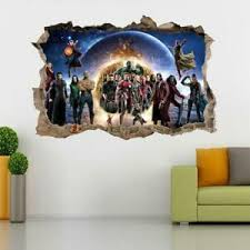 Avengers End Game 3d Smashed Wall Sticker Decal Decor Art Mural Marvel J1417 Ebay