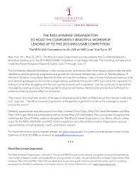 THE MISS UNIVERSE ORGANIZATION TO HOLD THE CONFIDENTLY BEAUTIFUL WORKSHOP  LEADING UP TO THE 2013 MISS USA® COMPETITION