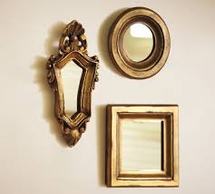 mini gilded gold mirrors set of 3