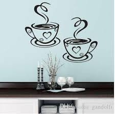 Double Coffee Cups Wall Stickers Beautiful Design Tea Cups Room Decoration Vinyl Art Wall Decals Adhesive Stickers Kitchen Decor Decals Decals For Bedroom Walls From Gandolfi 2 52 Dhgate Com