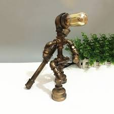 Industrial Robot Table Light With Open Bulb Metal 1 Light Bronze Desk Lamp For Kid Bedroom Beautifulhalo Com