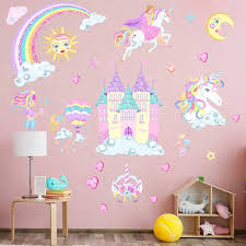 Amazon Com Castle Unicorn Wall Decals Princess Reflective With Heart Rainbow Vinyl Wall Stickers Gifts For Baby Girls Bedroom Party Decoration 2pcs Kitchen Dining