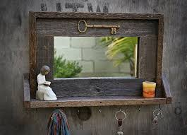 reclaimed wood framed mirror with small