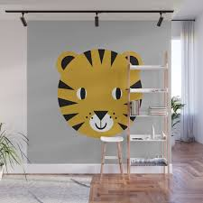 Tiger Face Cute Kids Room Nursery Boys Or Girls Decor Tigers Jungle Wall Mural By Charlottewinter Society6