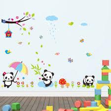 3d Diy الكرتون لطيف الخيزران الباندا للإزالة الجدار ملصق للأطفال
