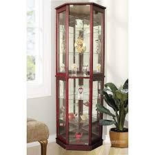 tall lighted corner curio cabinet