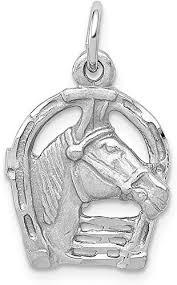 horse head in horseshoe pendant charm