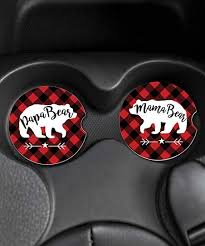 Personalized Planet Red Black Check Mama Bear Car Coaster Set Of Two Zulily