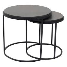 roost 2 piece nesting tables set black