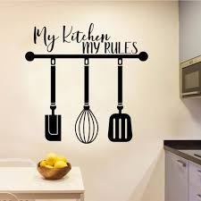 Kitchen Rules With Hanging Utensils Wall Vinyl Sticker Wall Decal Kitchen Decoration Removable A001785 Wall Stickers Aliexpress