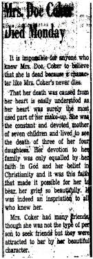 Obituary of Ivy Collins Coker, 1881-1942 | Ruthrawls's Blog