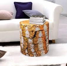 red oak tree stump log ottoman table