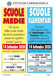 ANNO SCOLASTICO 2020/2021 ORARIO PRIMO GIORNO DI SCUOLA - Città di  Carmagnola